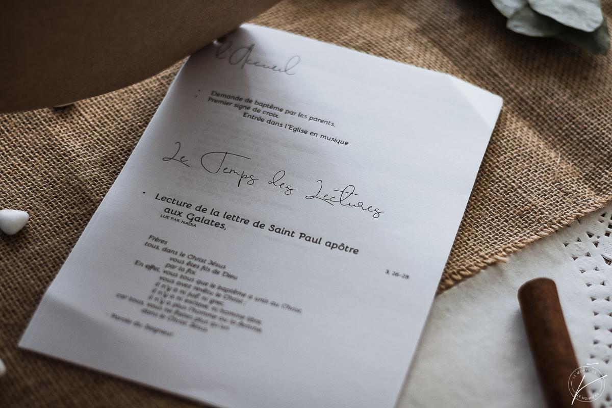 Menu et Livret de Messe Baptême, Printable