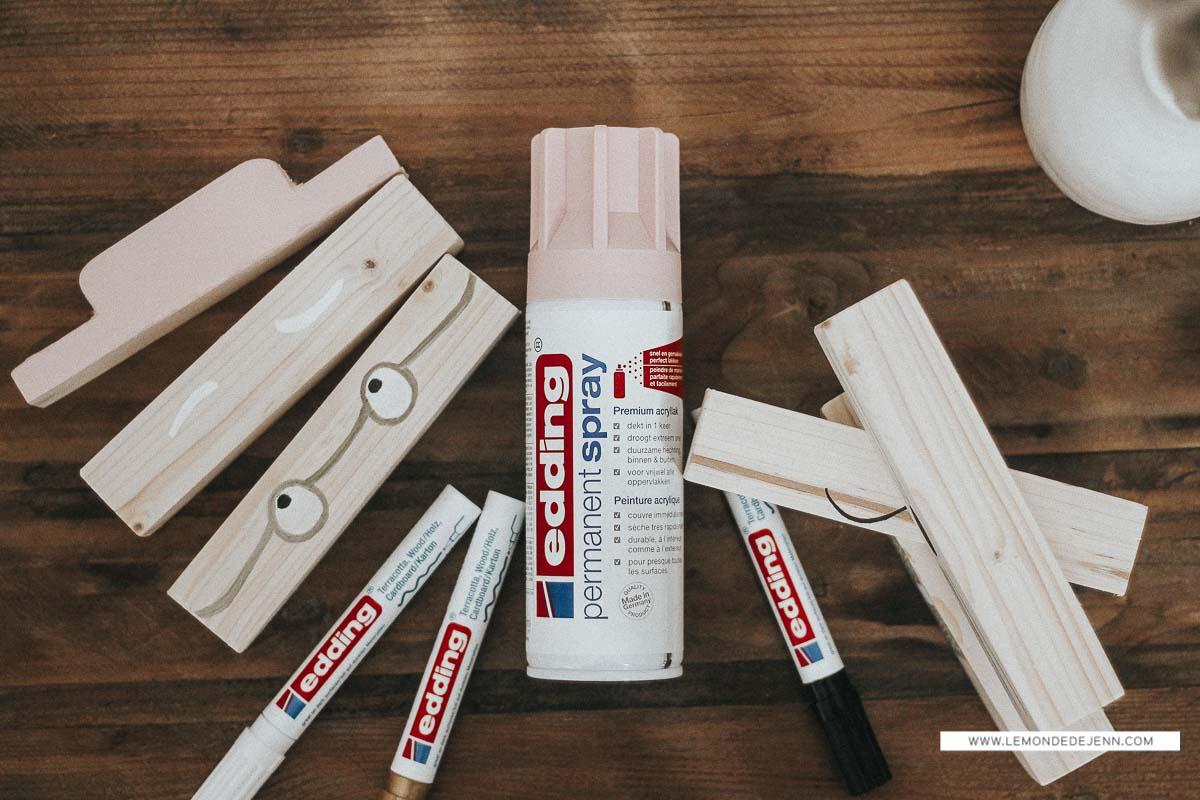 DIY : un jeu de construction en bois, façon Sostrene Grene ; avec Edding
