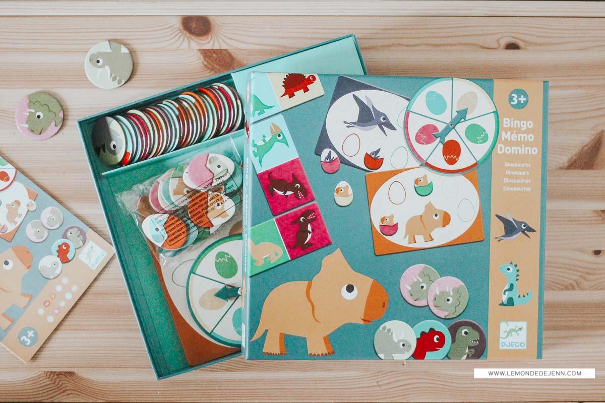 Bingo Mémo Domino Dinosaures de Djeco
